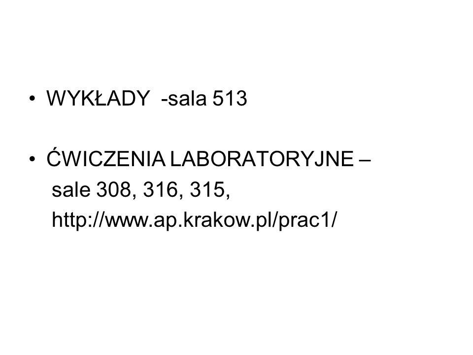 WYKŁADY -sala 513 ĆWICZENIA LABORATORYJNE – sale 308, 316, 315, http://www.ap.krakow.pl/prac1/