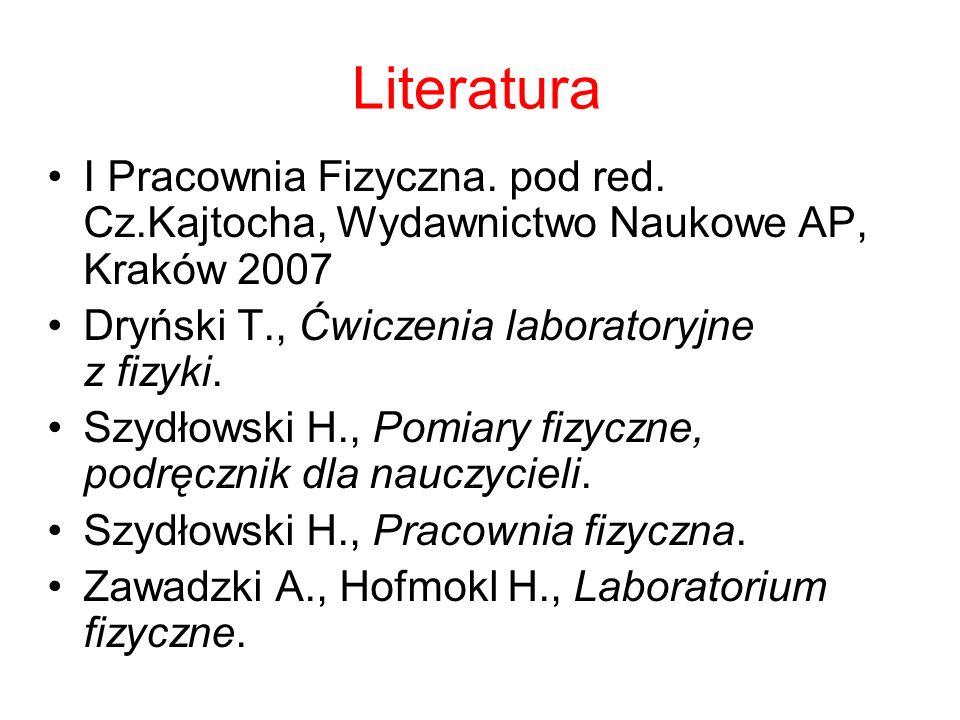 Literatura I Pracownia Fizyczna. pod red. Cz.Kajtocha, Wydawnictwo Naukowe AP, Kraków 2007. Dryński T., Ćwiczenia laboratoryjne z fizyki.