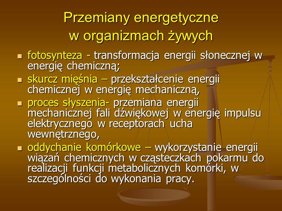 Przemiany energetyczne w organizmach żywych