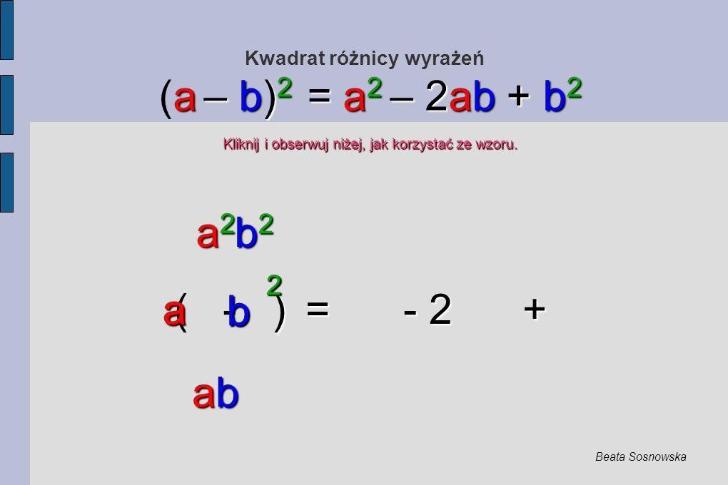 Kwadrat różnicy wyrażeń