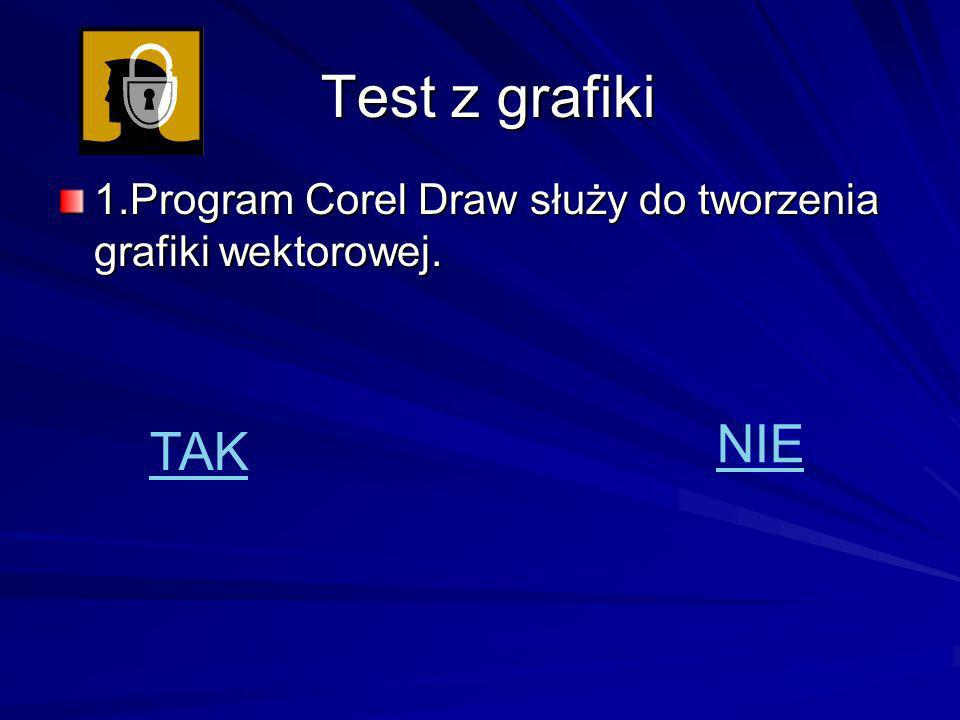 Test z grafiki 1.Program Corel Draw służy do tworzenia grafiki wektorowej. NIE TAK