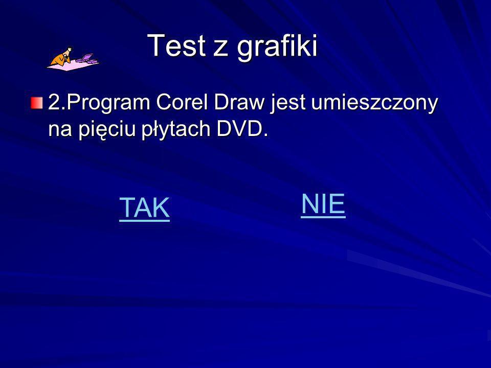 Test z grafiki 2.Program Corel Draw jest umieszczony na pięciu płytach DVD. NIE TAK