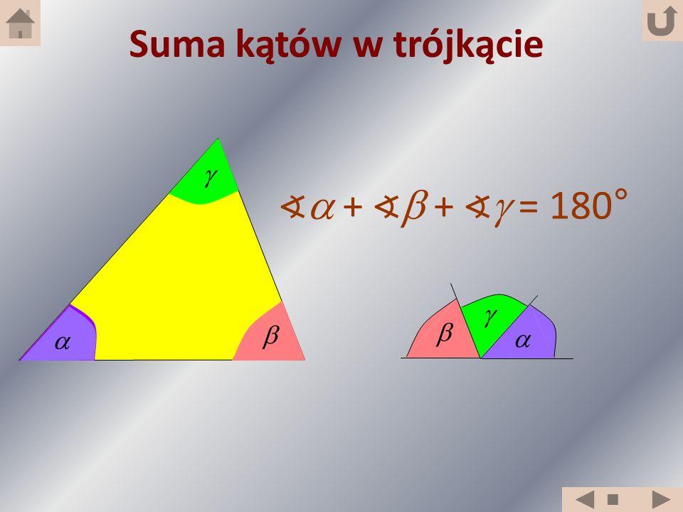 Suma kątów w trójkącie     ∢ + ∢ + ∢ = 180°      