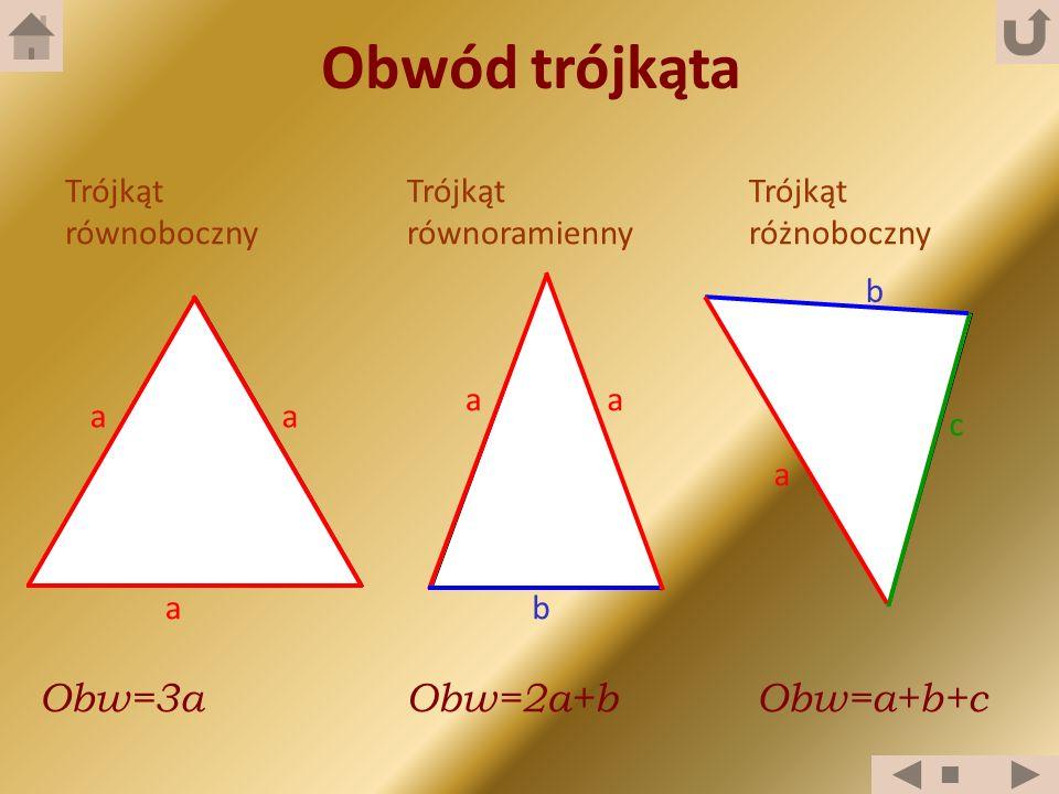 Obwód trójkąta Obw=3a Obw=2a+b Obw=a+b+c Trójkąt równoboczny