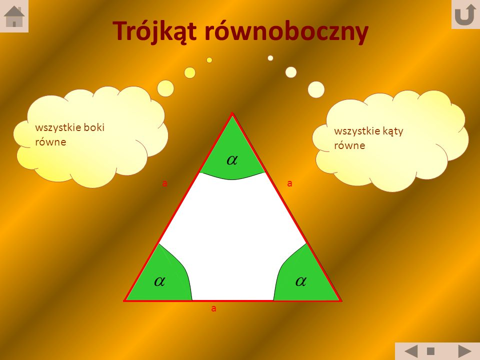 Trójkąt równoboczny wszystkie boki równe wszystkie kąty równe a  