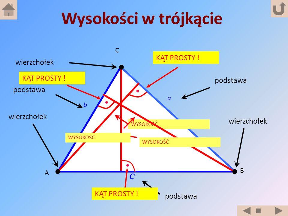 Wysokości w trójkącie c KĄT PROSTY ! wierzchołek KĄT PROSTY ! podstawa