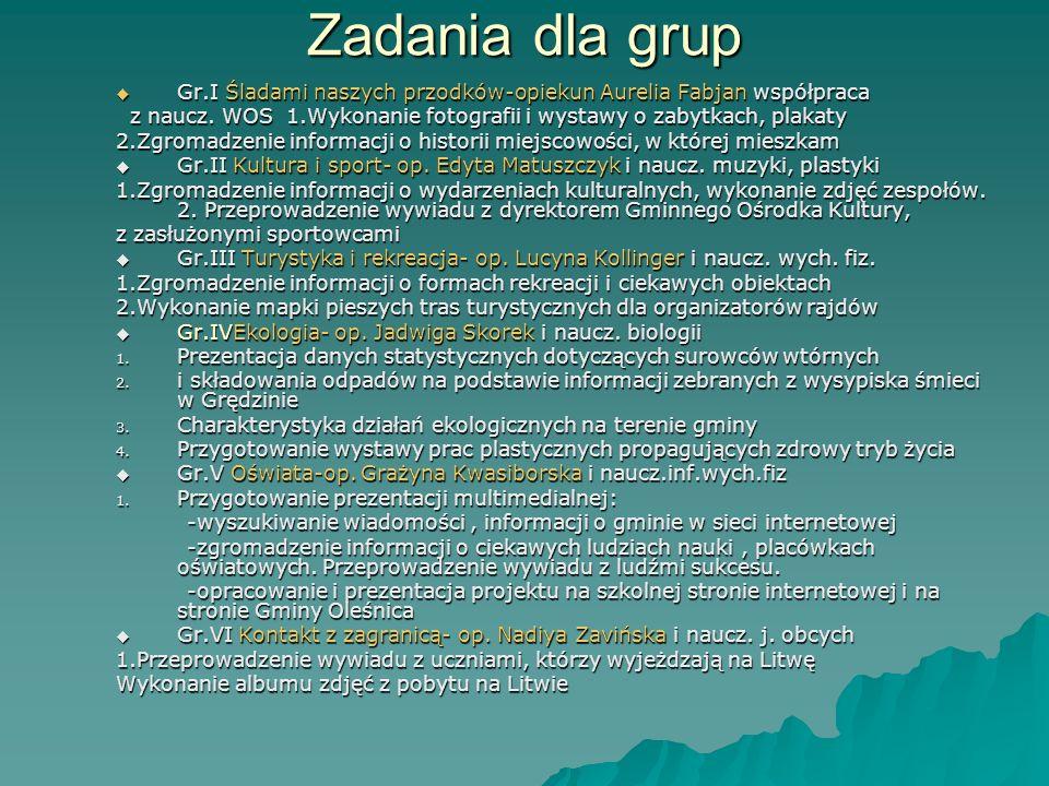 Zadania dla grup Gr.I Śladami naszych przodków-opiekun Aurelia Fabjan współpraca.