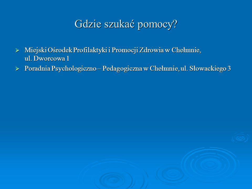 Gdzie szukać pomocy Miejski Ośrodek Profilaktyki i Promocji Zdrowia w Chełmnie, ul. Dworcowa 1.