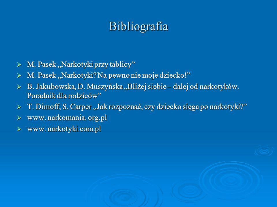 """Bibliografia M. Pasek """"Narkotyki przy tablicy"""