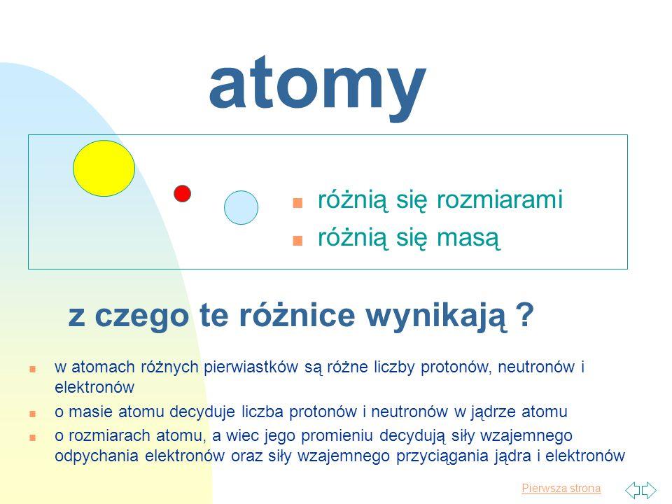 atomy z czego te różnice wynikają różnią się rozmiarami