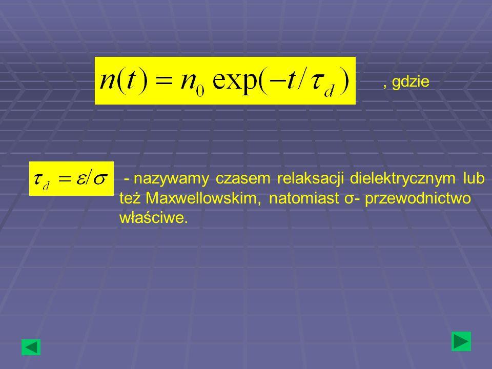 , gdzie - nazywamy czasem relaksacji dielektrycznym lub też Maxwellowskim, natomiast σ- przewodnictwo właściwe.