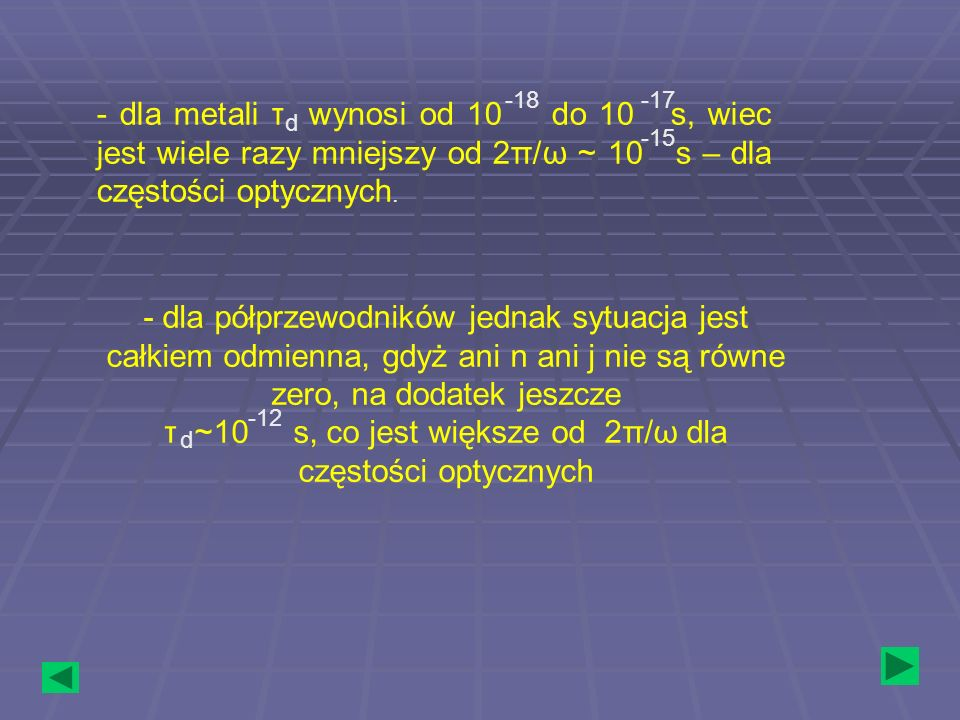 τ ~10 s, co jest większe od 2π/ω dla częstości optycznych