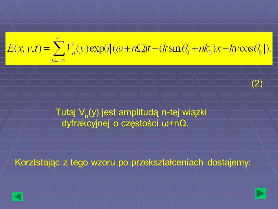 Tutaj Vn(y) jest amplitudą n-tej wiązki dyfrakcyjnej o częstości ω+nΩ.
