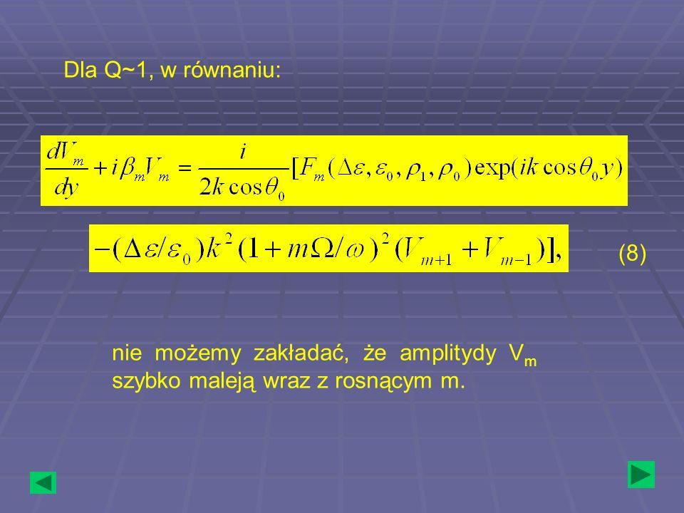 Dla Q~1, w równaniu: (8) nie możemy zakładać, że amplitydy Vm szybko maleją wraz z rosnącym m.
