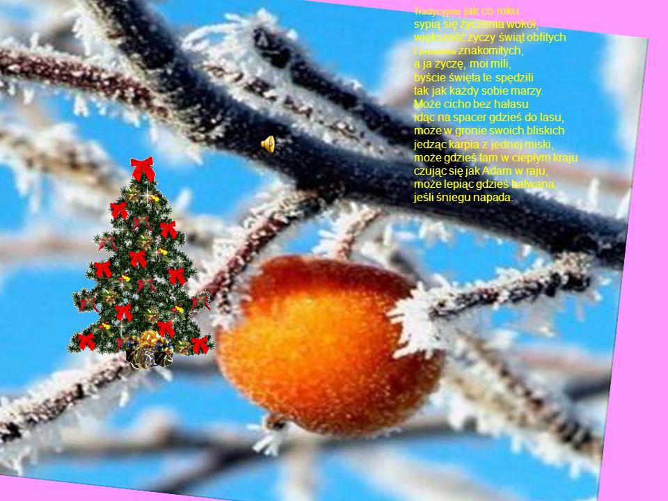 Tradycyjnie jak co roku sypią się życzenia wokół, większość życzy świąt obfitych i prezentów znakomitych, a ja życzę, moi mili, byście święta te spędzili tak jak każdy sobie marzy.