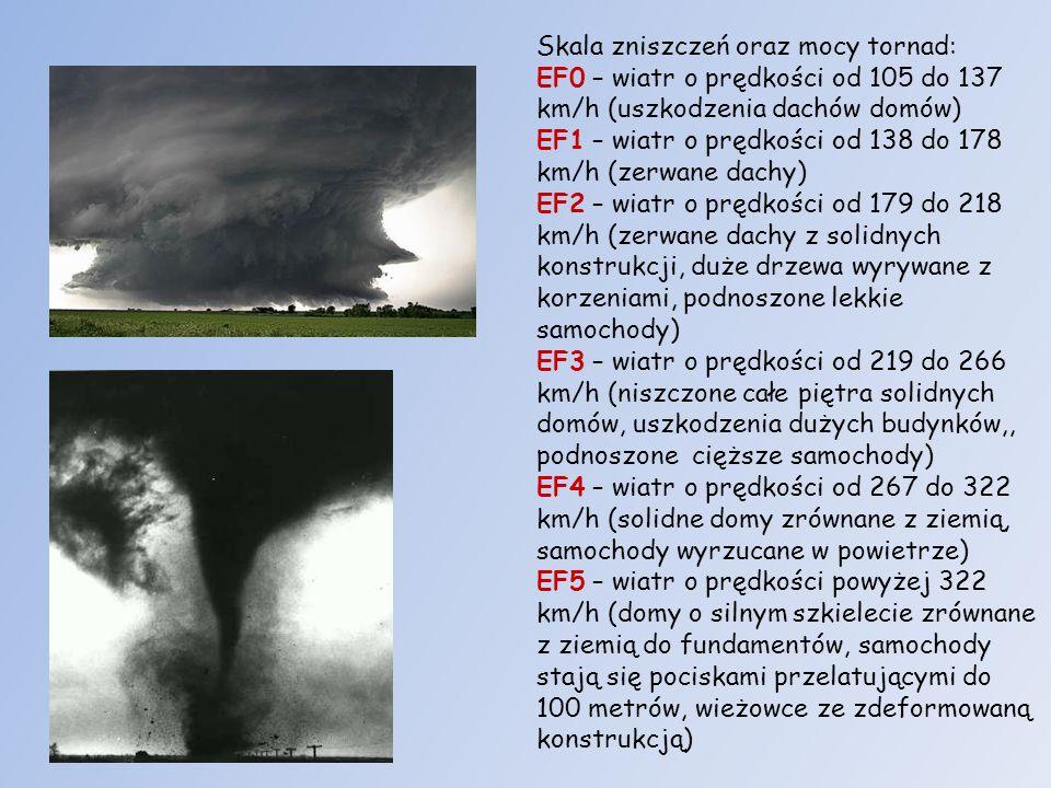 Skala zniszczeń oraz mocy tornad: