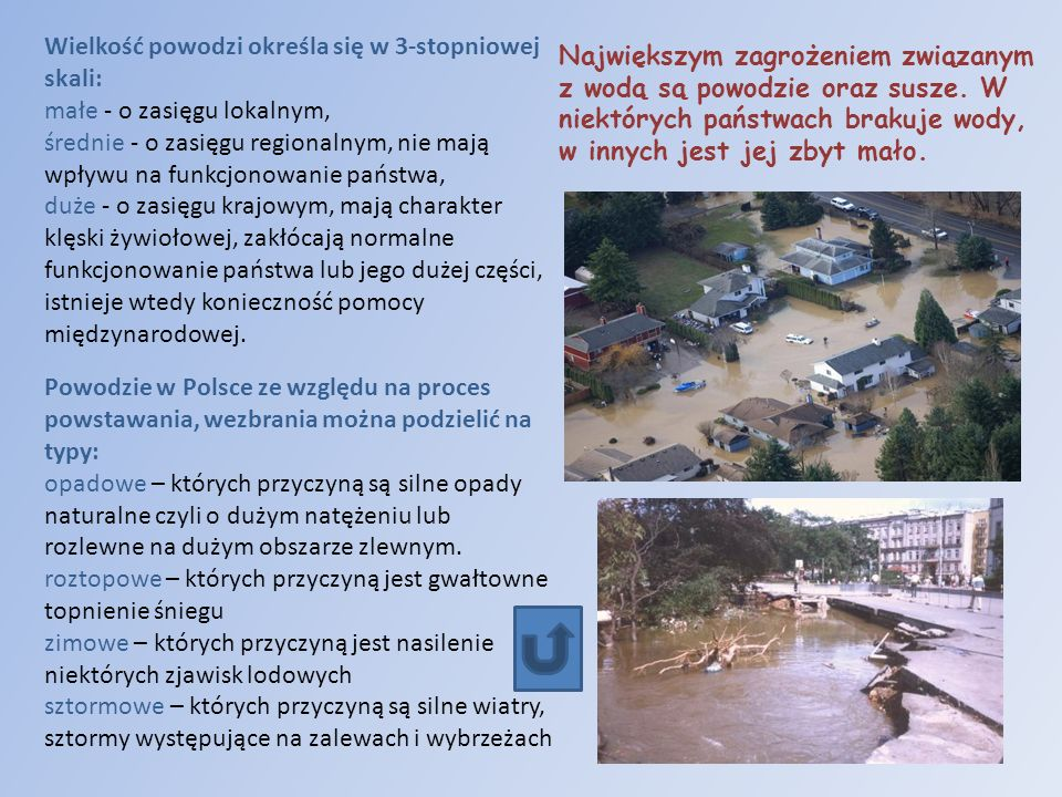 Wielkość powodzi określa się w 3-stopniowej skali: