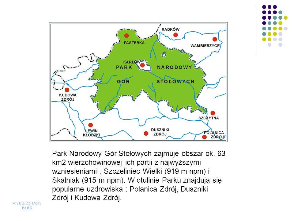 Park Narodowy Gór Stołowych zajmuje obszar ok