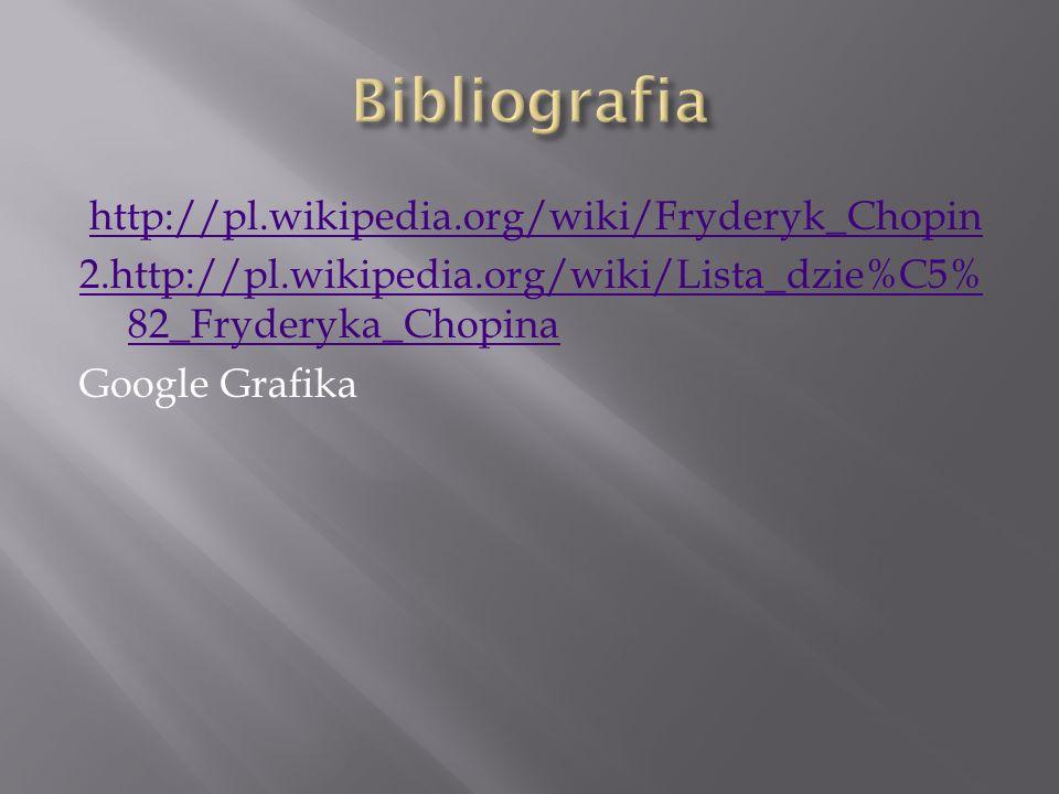 Bibliografia http://pl.wikipedia.org/wiki/Fryderyk_Chopin 2.http://pl.wikipedia.org/wiki/Lista_dzie%C5%82_Fryderyka_Chopina Google Grafika
