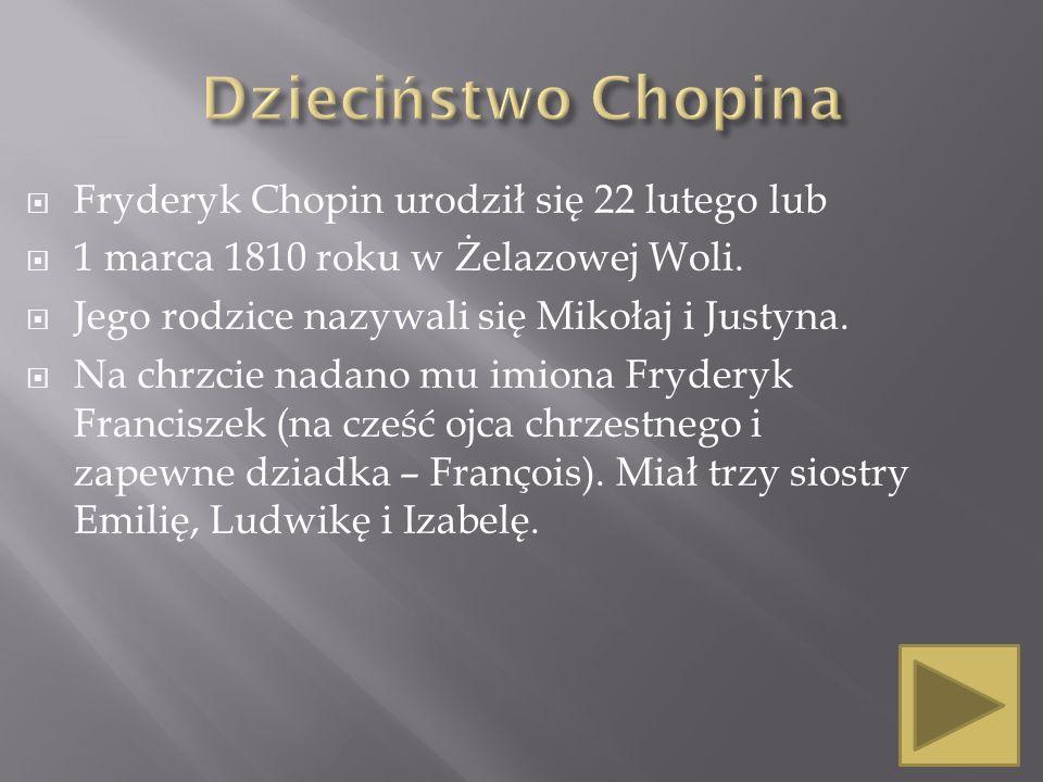 Dzieciństwo Chopina Fryderyk Chopin urodził się 22 lutego lub