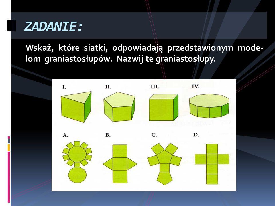 ZADANIE:Wskaż, które siatki, odpowiadają przedstawionym mode- lom graniastosłupów.