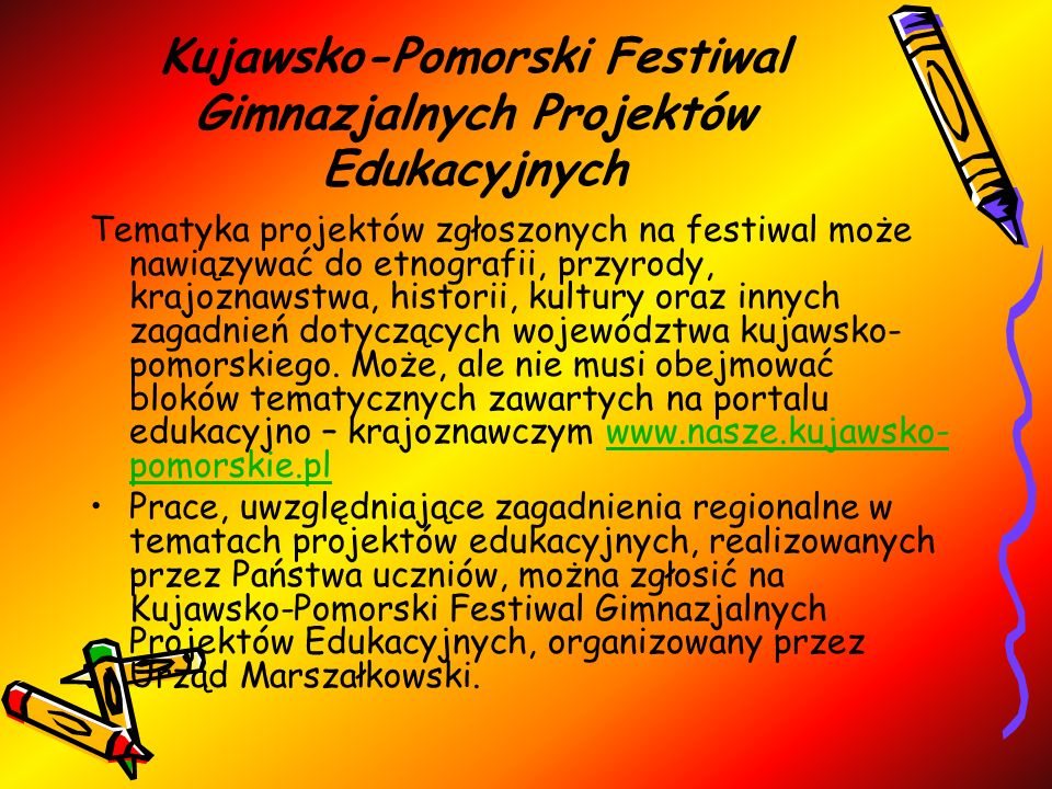 Kujawsko-Pomorski Festiwal Gimnazjalnych Projektów Edukacyjnych