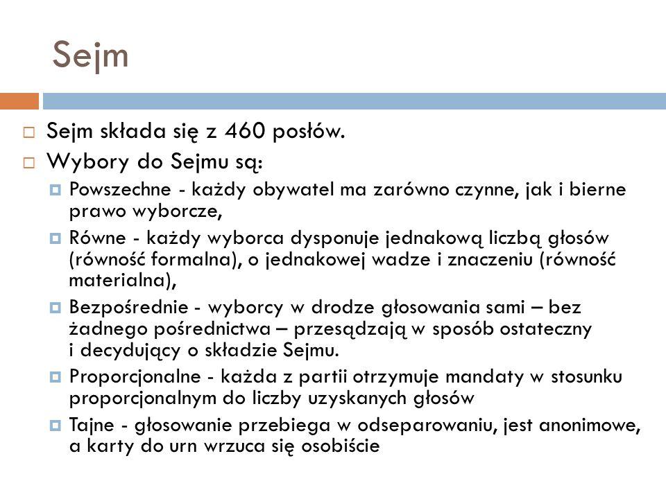 Sejm Sejm składa się z 460 posłów. Wybory do Sejmu są: