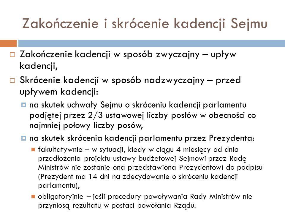 Zakończenie i skrócenie kadencji Sejmu