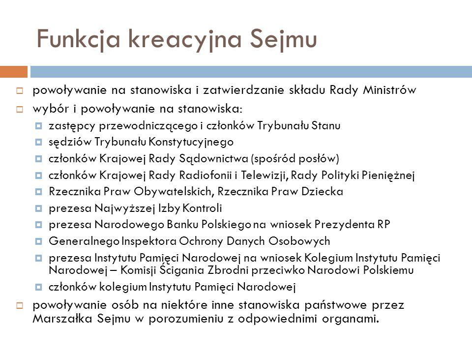 Funkcja kreacyjna Sejmu