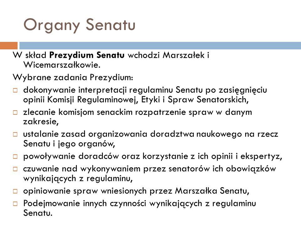 Organy Senatu W skład Prezydium Senatu wchodzi Marszałek i Wicemarszałkowie. Wybrane zadania Prezydium: