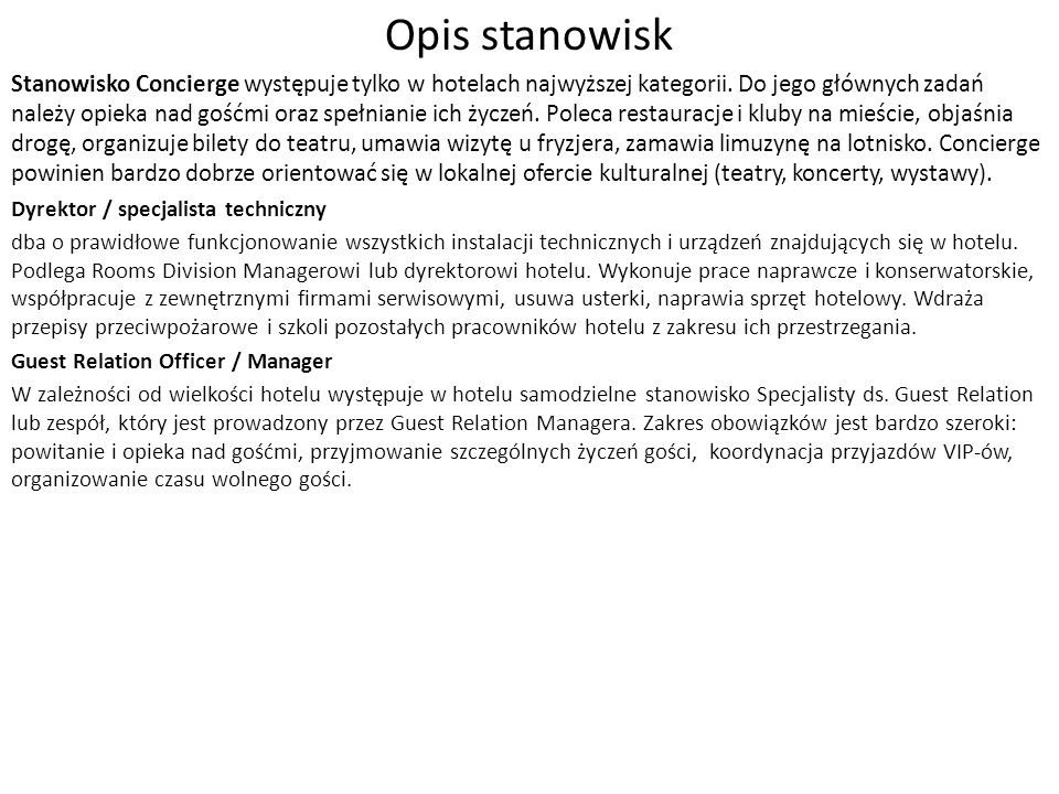 Opis stanowisk