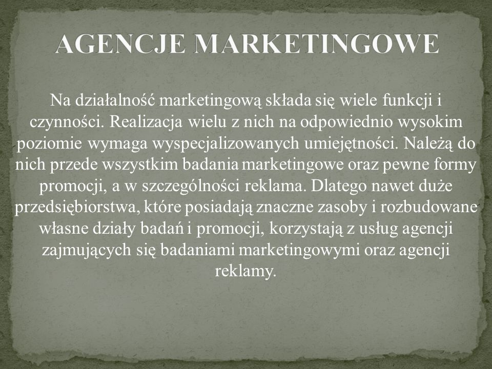 AGENCJE MARKETINGOWE