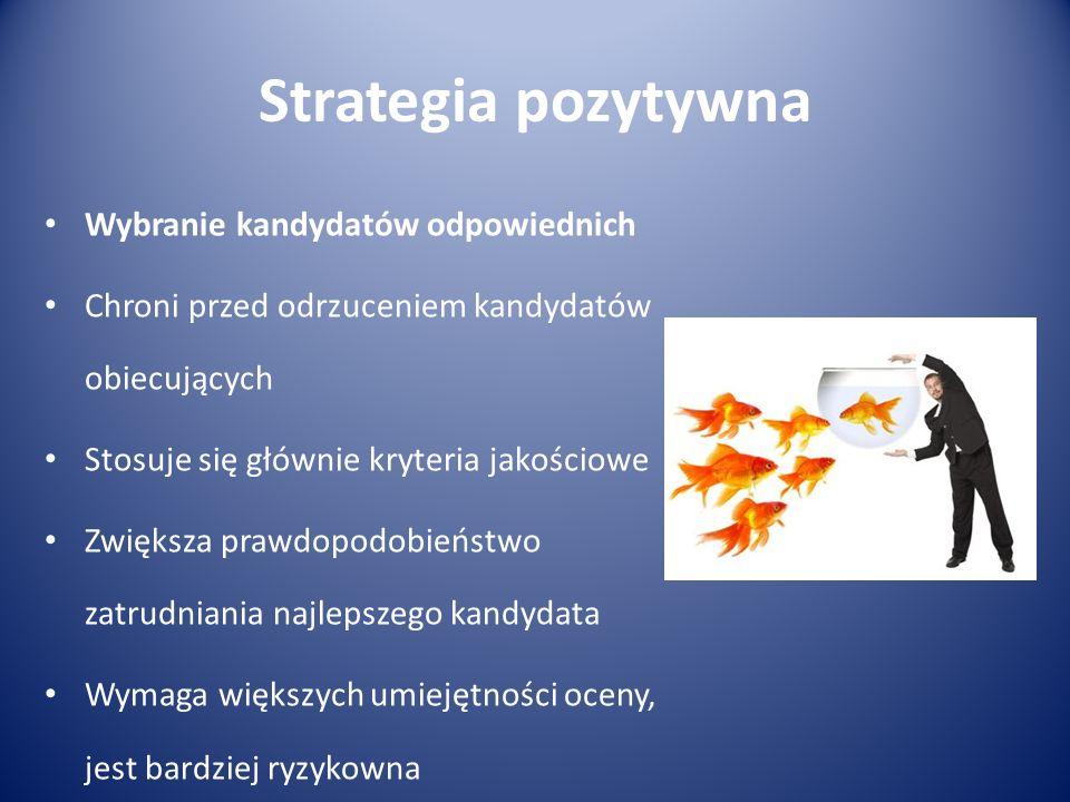 Strategia pozytywna Wybranie kandydatów odpowiednich