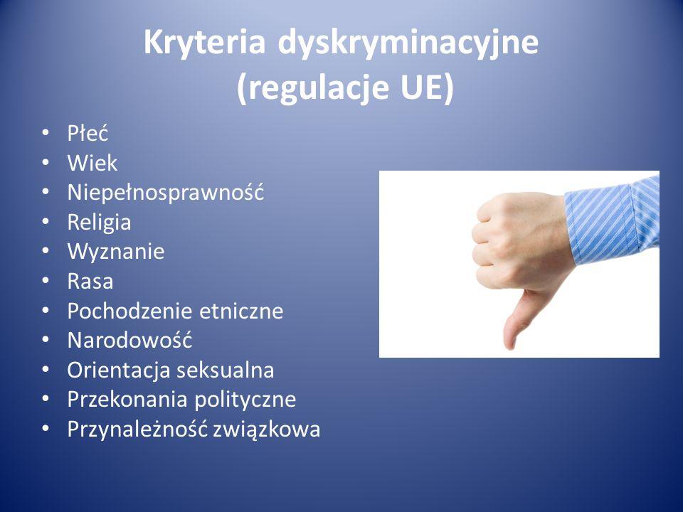 Kryteria dyskryminacyjne (regulacje UE)