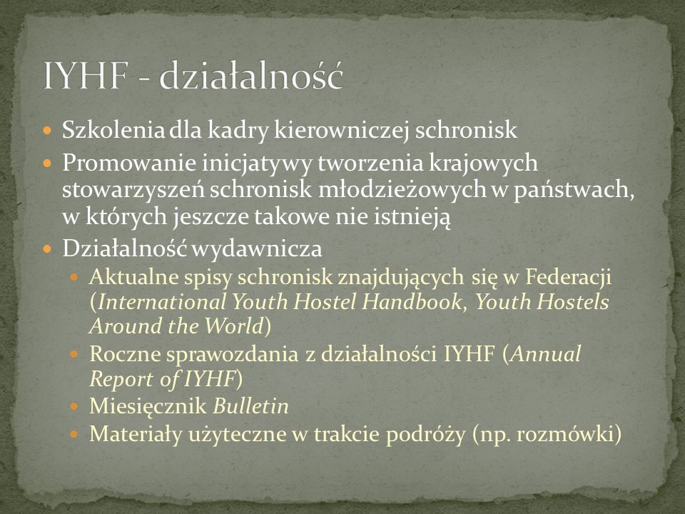 IYHF - działalność Szkolenia dla kadry kierowniczej schronisk