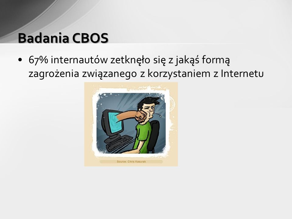 Badania CBOS 67% internautów zetknęło się z jakąś formą zagrożenia związanego z korzystaniem z Internetu.