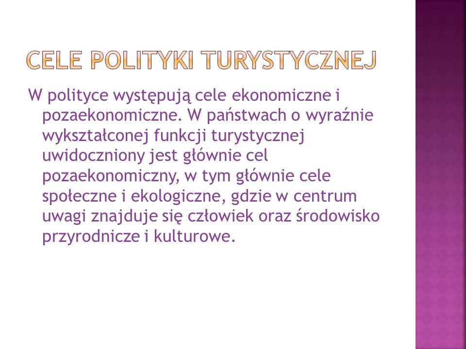 Cele polityki turystycznej