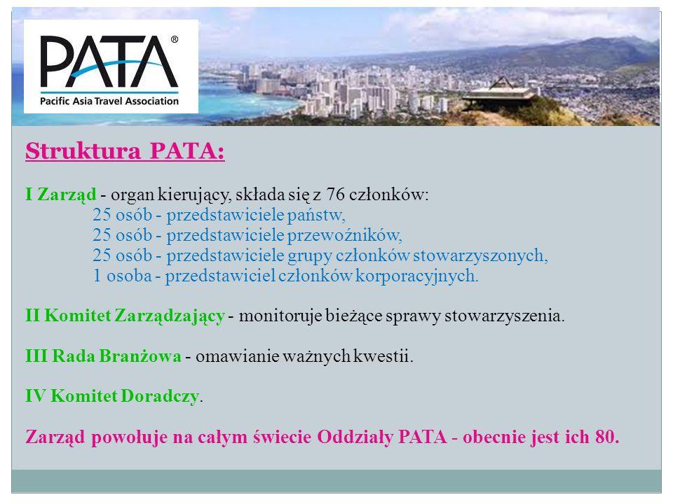 Struktura PATA: I Zarząd - organ kierujący, składa się z 76 członków: 25 osób - przedstawiciele państw,