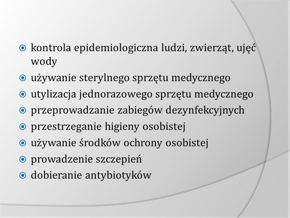 kontrola epidemiologiczna ludzi, zwierząt, ujęć wody