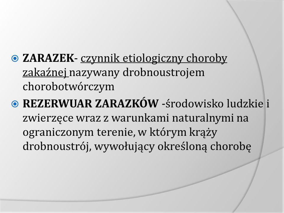 ZARAZEK- czynnik etiologiczny choroby zakaźnej nazywany drobnoustrojem chorobotwórczym