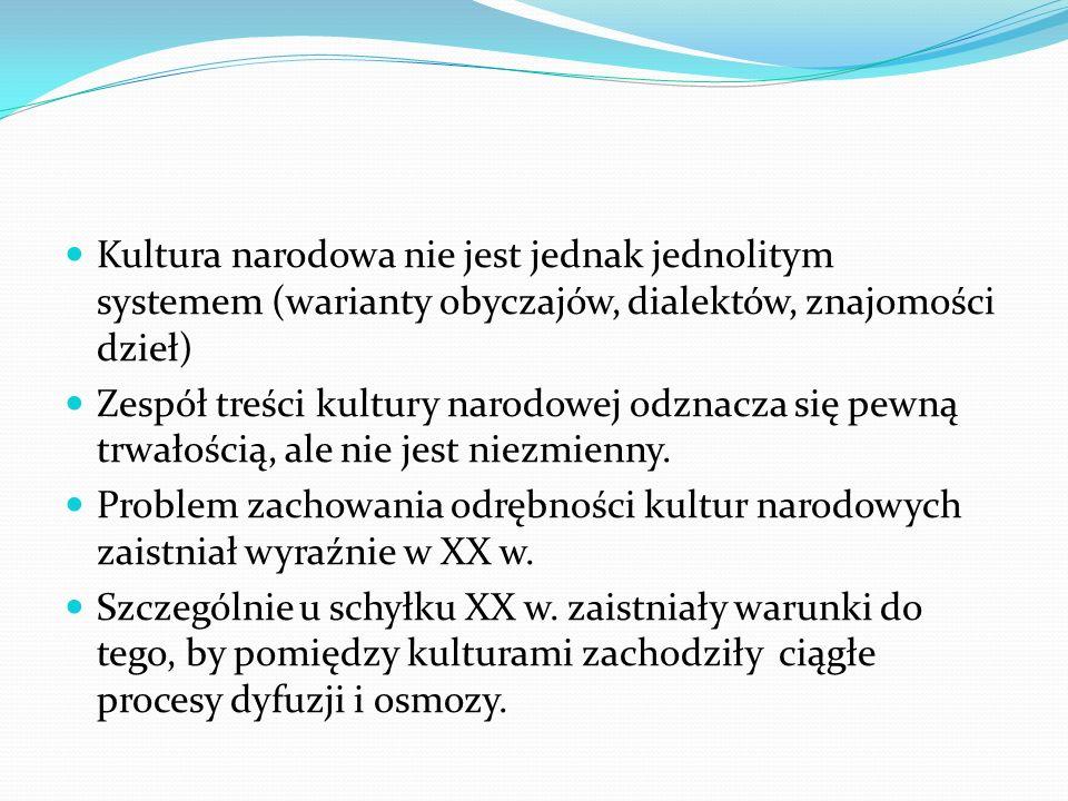 Kultura narodowa nie jest jednak jednolitym systemem (warianty obyczajów, dialektów, znajomości dzieł)