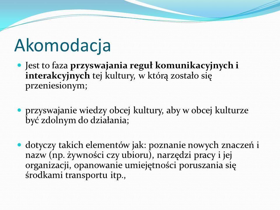 Akomodacja Jest to faza przyswajania reguł komunikacyjnych i interakcyjnych tej kultury, w którą zostało się przeniesionym;