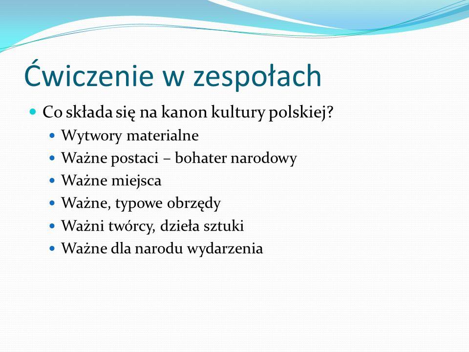 Ćwiczenie w zespołach Co składa się na kanon kultury polskiej