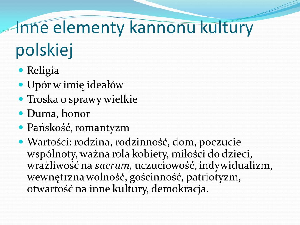 Inne elementy kannonu kultury polskiej