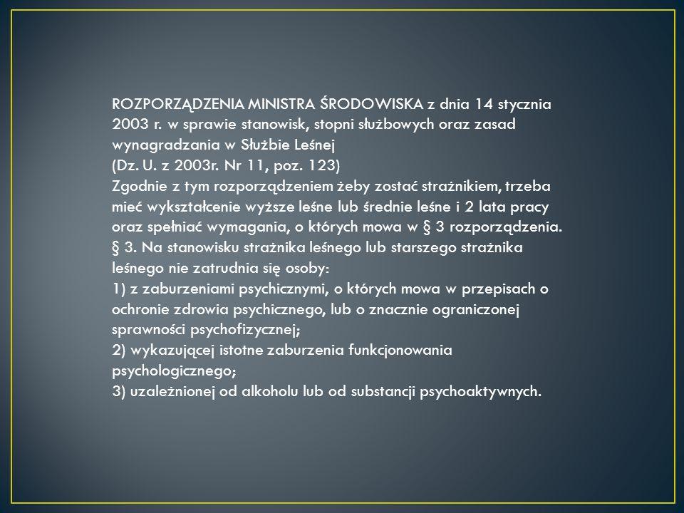 ROZPORZĄDZENIA MINISTRA ŚRODOWISKA z dnia 14 stycznia 2003 r