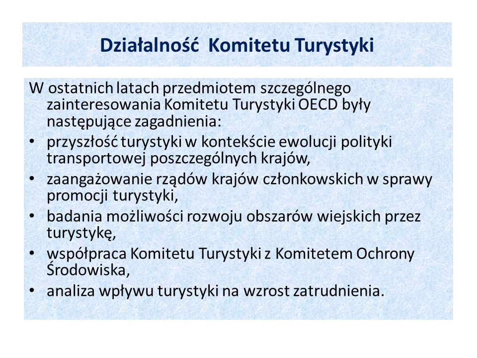 Działalność Komitetu Turystyki