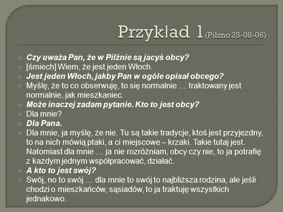 Przykład 1(Pilzno 25-08-06) Czy uważa Pan, że w Pilźnie są jacyś obcy