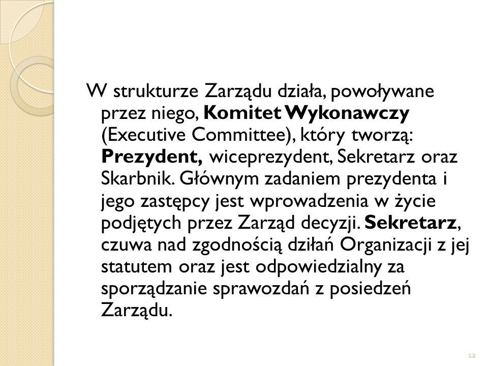 W strukturze Zarządu działa, powoływane przez niego, Komitet Wykonawczy (Executive Committee), który tworzą: Prezydent, wiceprezydent, Sekretarz oraz Skarbnik.