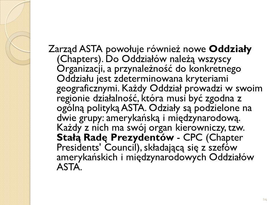 Zarząd ASTA powołuje również nowe Oddziały (Chapters)