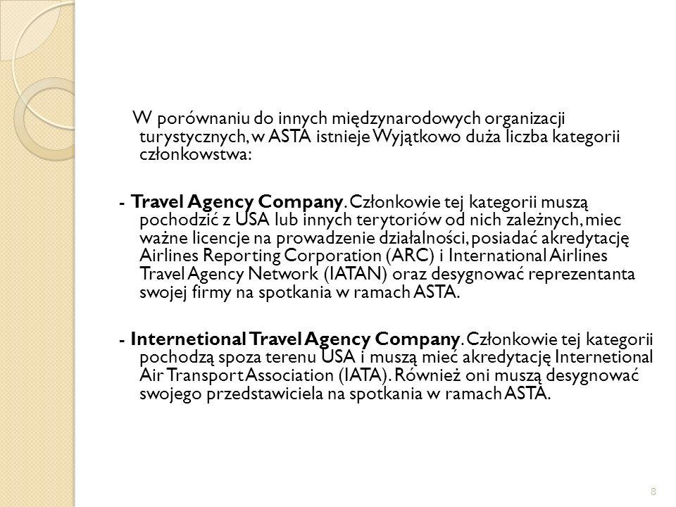 W porównaniu do innych międzynarodowych organizacji turystycznych, w ASTA istnieje Wyjątkowo duża liczba kategorii członkowstwa: - Travel Agency Company.